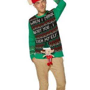 Unisex LightUp Touch My Elf Ugly Christmas Sweater